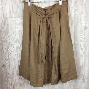Zara Basic Dark Tan Flax Skirt Sz S